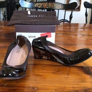 Anyi Lu brown patent wedge with snake pattern heel